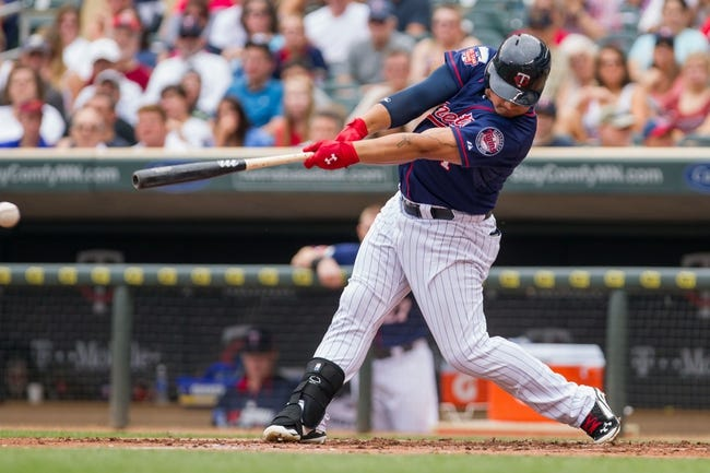 Aug 21, 2014; Minneapolis, MN, USA; Minnesota Twins right fielder Oswaldo Arcia (31) at bat in the against the Cleveland Indians at Target Field. Mandatory Credit: Brad Rempel-USA TODAY Sports