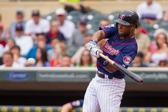 Aug 21, 2014; Minneapolis, MN, USA; Minnesota Twins shortstop Danny Santana (39) at bat in the against the Cleveland Indians at Target Field. Mandatory Credit: Brad Rempel-USA TODAY Sports