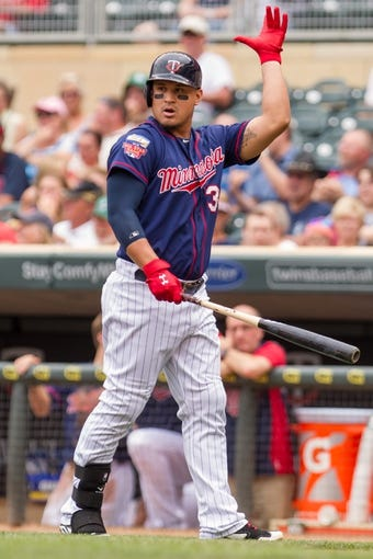 Aug 21, 2014; Minneapolis, MN, USA; Minnesota Twins right fielder Oswaldo Arcia (31) prepares to bat in the against the Cleveland Indians at Target Field. Mandatory Credit: Brad Rempel-USA TODAY Sports