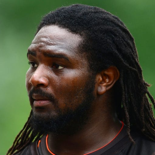 Jun 12, 2014; Berea, OH, USA; Cleveland Browns offensive lineman Jeremiah Warren during minicamp at Browns training facility. Mandatory Credit: Andrew Weber-USA TODAY Sports