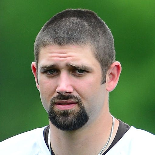 Jun 12, 2014; Berea, OH, USA; Cleveland Browns linebacker Tank Carder during minicamp at Browns training facility. Mandatory Credit: Andrew Weber-USA TODAY Sports