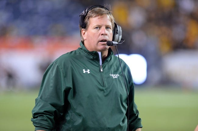 Aug 29, 2014; Denver, CO, USA; Colorado State Rams head coach Jim McElwain walks his sidelines against the Colorado Buffaloes in the second quarter at Sports Authority Field at Mile High. Mandatory Credit: Ron Chenoy-USA TODAY Sports