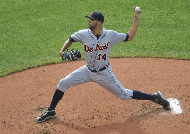 Sep 1, 2014; Cleveland, OH, USA; Detroit Tigers starting pitcher David Price (14) delivers in the first inning against the Cleveland Indians at Progressive Field. Mandatory Credit: David Richard-USA TODAY Sports