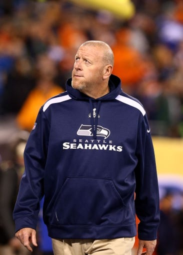 Feb 2, 2014; East Rutherford, NJ, USA; Seattle Seahawks offensive line coach Tom Cable against the Denver Broncos in Super Bowl XLVIII at MetLife Stadium.  Mandatory Credit: Mark J. Rebilas-USA TODAY Sports