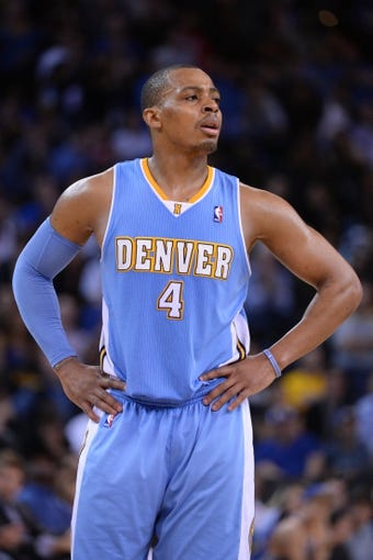 April 10, 2014; Oakland, CA, USA; Denver Nuggets guard Randy Foye (4) during the fourth quarter against the Golden State Warriors at Oracle Arena. The Nuggets defeated the Warriors 100-99. Mandatory Credit: Kyle Terada-USA TODAY Sports