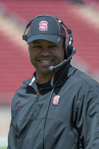 April 12, 2014; Stanford, CA, USA; Stanford Cardinal head coach David Shaw smiles during the spring game at Stanford Stadium. Mandatory Credit: Kyle Terada-USA TODAY Sports