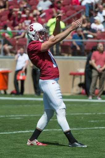 April 12, 2014; Stanford, CA, USA; Stanford Cardinal kicker Jordan Williamson (19) lines up his field goal attempt during the spring game at Stanford Stadium. Mandatory Credit: Kyle Terada-USA TODAY Sports