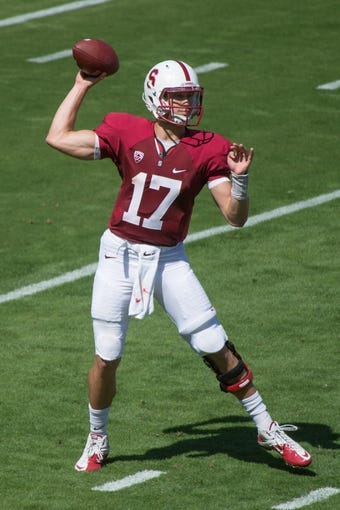April 12, 2014; Stanford, CA, USA; Stanford Cardinal quarterback Ryan Burns (17) passes the football during the spring game at Stanford Stadium. Mandatory Credit: Kyle Terada-USA TODAY Sports