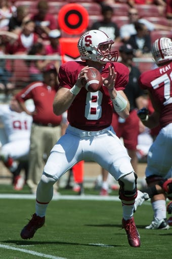 April 12, 2014; Stanford, CA, USA; Stanford Cardinal quarterback Kevin Hogan (8) during the spring game at Stanford Stadium. Mandatory Credit: Kyle Terada-USA TODAY Sports