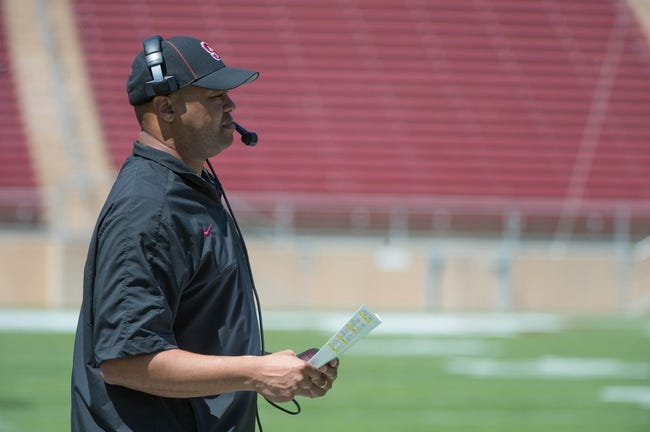 April 12, 2014; Stanford, CA, USA; Stanford Cardinal head coach David Shaw during the spring game at Stanford Stadium. Mandatory Credit: Kyle Terada-USA TODAY Sports