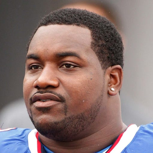 Oct 13, 2013; Orchard Park, NY, USA; Buffalo Bills defensive tackle Marcell Dareus (99) before the second half against the Cincinnati Bengals at Ralph Wilson Stadium. Bengals beat the Bills 27-24 in overtime. Mandatory Credit: Kevin Hoffman-USA TODAY Sports