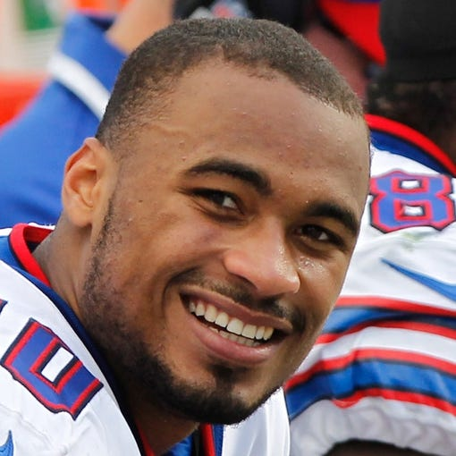 Dec 8, 2013; Tampa, FL, USA; Buffalo Bills wide receiver Robert Woods (10) smiles against the Tampa Bay Buccaneers during the second half at Raymond James Stadium. Tampa Bay Buccaneers defeated the Buffalo Bills 27-6. Mandatory Credit: Kim Klement-USA TODAY Sports