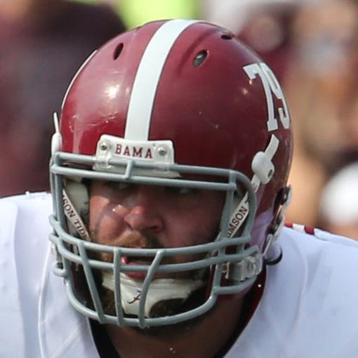Sep 14, 2013; College Station, TX, USA; Alabama Crimson Tide tackle Austin Shepherd (79) blocks during the game against the Texas A&M Aggies at Kyle Field. Mandatory Credit: Matthew Emmons-USA TODAY Sports