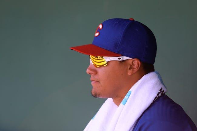 Mar 10, 2014; Scottsdale, AZ, USA; Chicago Cubs infielder Javier Baez against the San Francisco Giants at Scottsdale Stadium. Mandatory Credit: Mark J. Rebilas-USA TODAY Sports