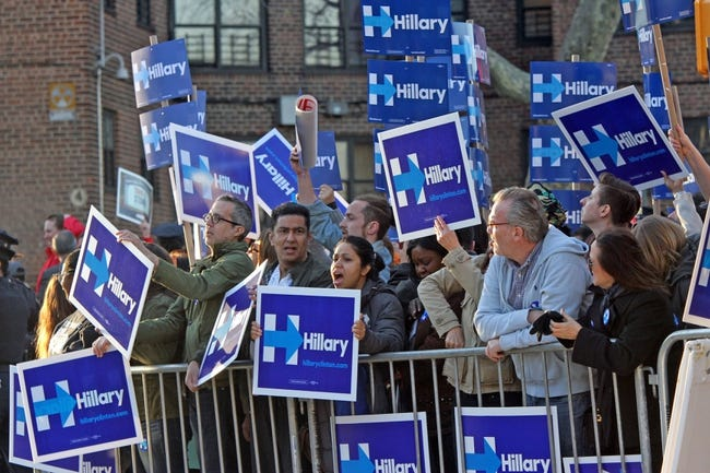 Apr 14, 2016; New York, NY, USA; Democratic presidential hopeful Hillary Clinton supporters outside during the Democratic presidential candidate debate at Brooklyn Navy Yard. Mandatory Credit: Carucha L. Meuse/The Journal News-USA TODAY NETWORK