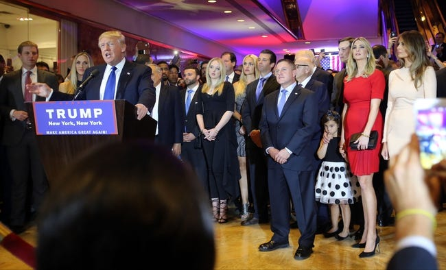 Apr 19, 2016; New York, NY, USA; Republican presidential hopeful Donald Trump speaks to supporters after the New York primary at Trump Towers. Mandatory Credit: Carucha L. Meuse/The Journal News via USA TODAY NETWORK