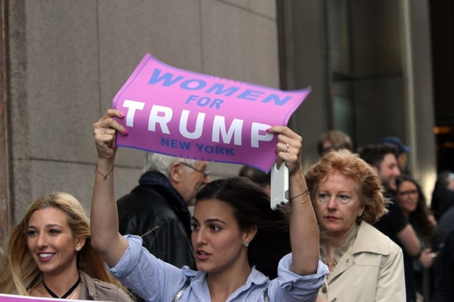 Apr 19, 2016; New York, NY, USA; A supporter of Republican presidential hopeful Donald Trump (not picured) during the New York primary at Trump Tower. Mandatory Credit: Carucha L. Meuse/The Journal News via USA TODAY NETWORK