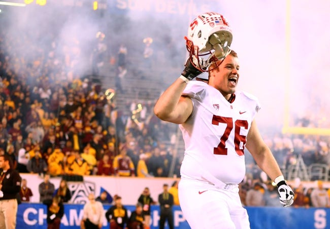 Dec 7, 2013; Tempe, AZ, USA; Stanford Cardinal offensive guard Kevin Danser reacts as he enters the field prior to the game against the Arizona State Sun Devils at Sun Devil Stadium. Stanford defeated Arizona State 38-14. Mandatory Credit: Mark J. Rebilas-USA TODAY Sports