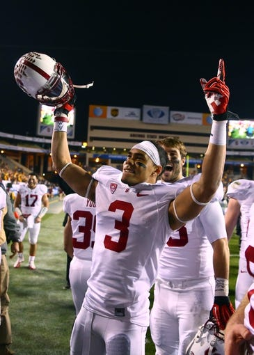Dec 7, 2013; Tempe, AZ, USA; Stanford Cardinal wide receiver Michael Rector celebrates after defeating the Arizona State Sun Devils at Sun Devil Stadium. Stanford defeated Arizona State 38-14. Mandatory Credit: Mark J. Rebilas-USA TODAY Sports