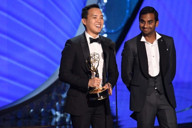 Sep 18, 2016; Los Angeles, CA, USA;  Aziz Ansari (right) and Alan Yang accept the award for Outstanding Writing For A Comedy Series for the Netflix series    Master of None    