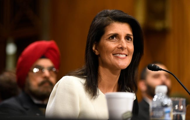 Jan 18, 2017; Washington, DC, USA;  Nikki Haley, nominee for U.N. Ambassador, and her father Dr Ajit  Randhawa to left , during confirmation hearing before the Senate Foreign Relations Committee.  Mandatory Credit: Robert Deutsch-USA TODAY NETWORK