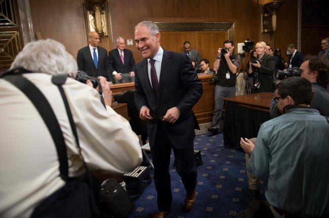 Jan 18, 2017; Washington, DC, USA;  Scott Pruitt, nominee for Administrator of the EPA, during confirmation hearing before the Senate Environment and Public Works Committee.  Mandatory Credit: Jack Gruber-USA TODAY NETWORK