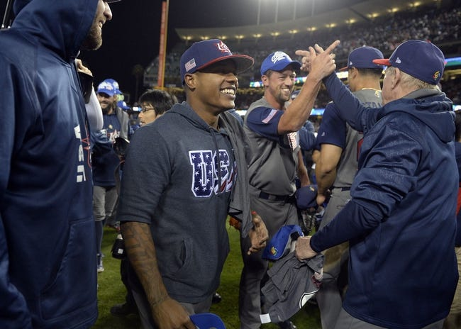 Mar 22, 2017; Los Angeles, CA, USA; USA pitcher Marcus Stroman (6) celebrates the 8-0 championship victory against Puerto Rico in the 2017 World Baseball Classic at Dodger Stadium. Mandatory Credit: Gary A. Vasquez-USA TODAY Sports