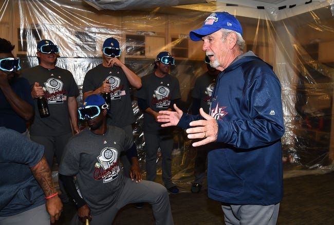 Mar 22, 2017; Los Angeles, CA, USA; USA manager Jim Leyland following the 8-0 victory against Puerto Rico in the 2017 World Baseball Classic at Dodger Stadium. Mandatory Credit: Jayne Kamin-Oncea-Pool Photo via USA TODAY Sports