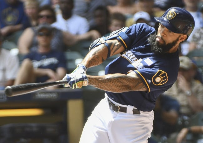 Aguilar's 2-out hit backs Nelson as Brewers beat Giants 6-3