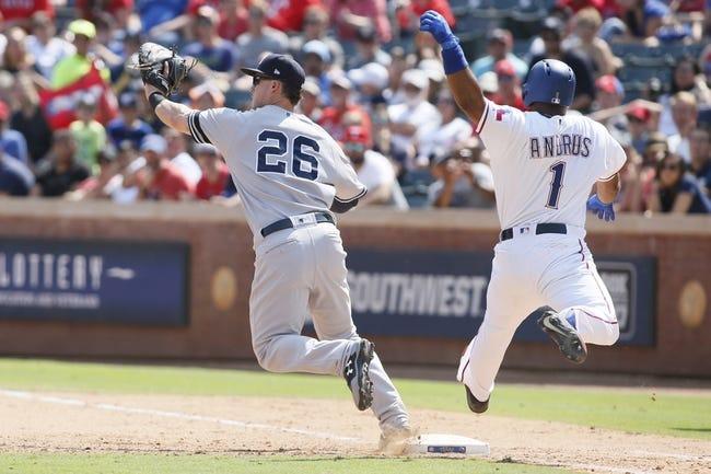 Texas Rangers vs. New York Yankees - 9/10/17 MLB Pick, Odds, and Prediction