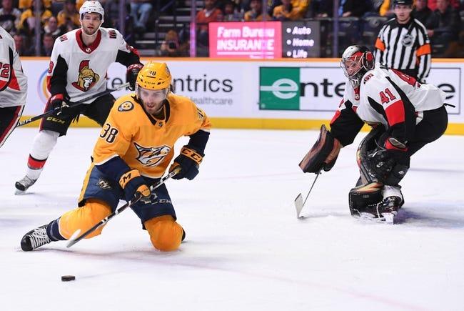 NHL | Nashville Predators (22-10-1) at Ottawa Senators (14-16-4)