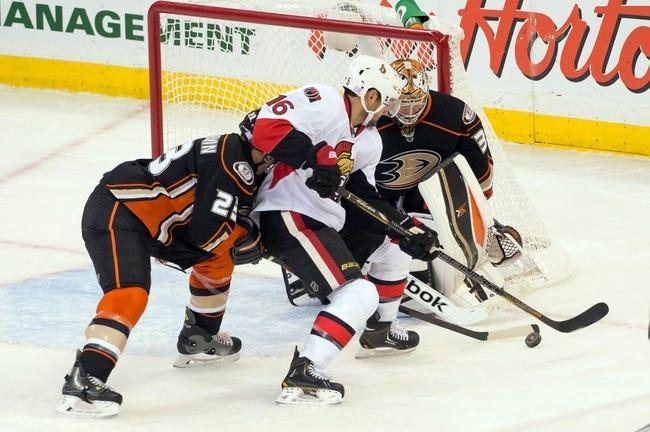 Ottawa Senators vs. Anaheim Ducks - 12/19/14 NHL Pick, Odds, and Prediction
