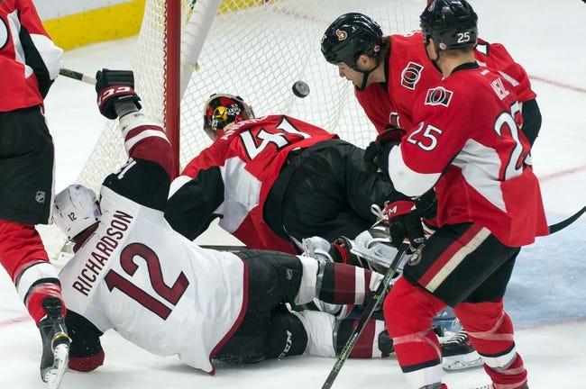 Arizona Coyotes vs. Ottawa Senators - 11/28/15 NHL Pick, Odds, and Prediction