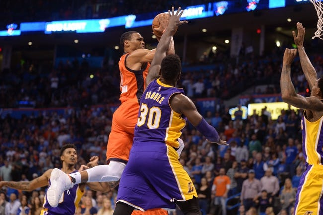 Oklahoma City Thunder at Los Angeles Lakers - 11/22/16 NBA Pick, Odds, and Prediction