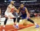 Mar 31, 2013; Chicago, IL, USA; Detroit Pistons center Greg Monroe (10) controls the ball as he is defended by Chicago Bulls power forward Taj Gibson (22) during the first half at the United Center. Mandatory Credit: David Banks-USA TODAY Sports
