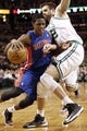 Apr 3, 2013; Boston, MA, USA; Detroit Pistons guard Brandon Knight tries to get past Boston Celtics forward Shavlik Randolph during the first quarter of an NBA game. Mandatory Credit: Winslow Townson-USA TODAY Sports