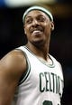 Apr 3, 2013; Boston, MA, USA; Boston Celtics forward Paul Pierce smiles at a teammate during the second quarter of an NBA game at TD Garden against the Detroit Pistons. Mandatory Credit: Winslow Townson-USA TODAY Sports