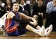Apr 3, 2013; Boston, MA, USA; Detroit Pistons power forward Jonas Jerebko (33) sits on the floor after loosing the ball out of bounds during the fourth quarter of their 98-93 loss to the Boston Celtics in an NBA game at TD Garden. Mandatory Credit: Winslow Townson-USA TODAY Sports