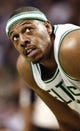 Apr 3, 2013; Boston, MA, USA; Boston Celtics small forward Paul Pierce looks on during the first quarter of an NBA game against the Detroit Pistons. Mandatory Credit: Winslow Townson-USA TODAY Sports