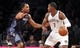 Apr 6, 2013; Brooklyn, NY, USA; Charlotte Bobcats guard Gerald Henderson (9) defends against Brooklyn Nets guard Joe Johnson (7) in the first quarter at Barclays Center. Mandatory Credit: Nicole Sweet-USA TODAY Sports