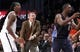 Apr 6, 2013; Brooklyn, NY, USA; Brooklyn Nets forward Gerald Wallace (45) and head coach P.J. Carlesimo and Charlotte Bobcats guard Ben Gordon (8) react in the fourth quarter at Barclays Center. Nets won 105-96. Mandatory Credit: Nicole Sweet-USA TODAY Sports
