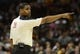 Apr 7, 2013; Cleveland, OH, USA; NBA referee Leroy Richardson during the game between the Cleveland Cavaliers and the Orlando Magic at Quicken Loans Arena. Mandatory Credit: Eric P. Mull-USA TODAY Sports
