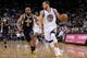 Apr 7, 2013; Oakland, CA, USA; Golden State Warriors guard Stephen Curry (30) dribbles past Utah Jazz guard Jamaal Tinsley (6) in the second quarter at ORACLE arena. Mandatory Credit: Cary Edmondson-USA TODAY Sports
