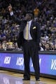 Apr 7, 2013; Oakland, CA, USA; Utah Jazz head coach Tyrone Corbin calls a play against the Golden State Warriors in the third quarter at ORACLE arena. The Jazz defeated the Warriors 97-90. Mandatory Credit: Cary Edmondson-USA TODAY Sports