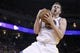 Apr 7, 2013; Oakland, CA, USA; Golden State Warriors forward David Lee (10) holds onto a rebound against the Utah Jazz in the fourth quarter at ORACLE arena. The Jazz defeated the Warriors 97-90. Mandatory Credit: Cary Edmondson-USA TODAY Sports