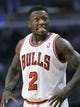 Apr 9, 2013; Chicago, IL, USA; Chicago Bulls point guard Nate Robinson (2) reacts after a play against the Toronto Raptors during the first half at the United Center. Mandatory Credit: Mike DiNovo-USA TODAY Sports