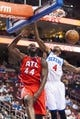 Apr 10, 2013; Philadelphia, PA, USA; a\a44 dunks over Philadelphia 76ers forward Dorell Wright (4) during the fourth quarter at the Wells Fargo Center. The Hawks defeated the Sixers 124-101. Mandatory Credit: Howard Smith-USA TODAY Sports