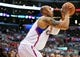 April 10, 2013; Los Angeles, CA, USA; Los Angeles Clippers small forward Caron Butler (5) attempts a three point basket against the Minnesota Timberwolves during the second half at Staples Center. Mandatory Credit: Gary A. Vasquez-USA TODAY Sports
