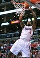 April 10, 2013; Los Angeles, CA, USA; Los Angeles Clippers center DeAndre Jordan (6) goes in to score a basket against the Minnesota Timberwolves during the second half at Staples Center. Mandatory Credit: Gary A. Vasquez-USA TODAY Sports