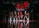 Apr 12, 2013; Toronto, Ontario, CAN; The Toronto Raptors mascot comes onto the court with the cheerleaders at the start of a game against the Chicago Bulls at the Air Canada Centre. Mandatory Credit: John E. Sokolowski-USA TODAY Sports